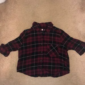 Cropped Plaid Button Up Shirt